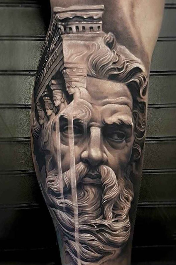 Man Statue Tattoos By Arlo Dicristina Graned Junction United States Zeus Tattoo Greek Tattoos Best Sleeve Tattoos