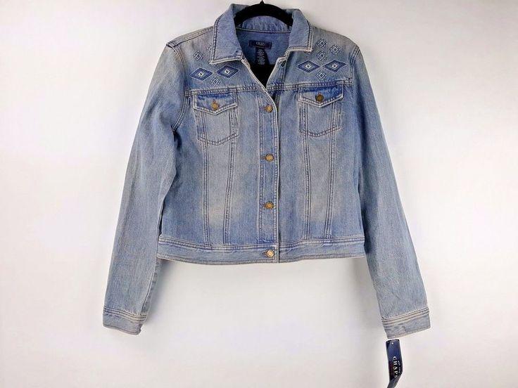 Chaps Ralph Lauren Women's Embroidered Light Denim Jean Jacket Size S Small New #Chaps #JeanJacket #Casual
