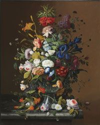 Beautiful Painting!   Flower Still Life with Bird's Nest - Oil on canvas - Made in New York City, New York, United States - 1853  by Severin Roesen, American (born Germany), 1816 - c. 1872   @Matty Chuah Philadelphia Museum of Art