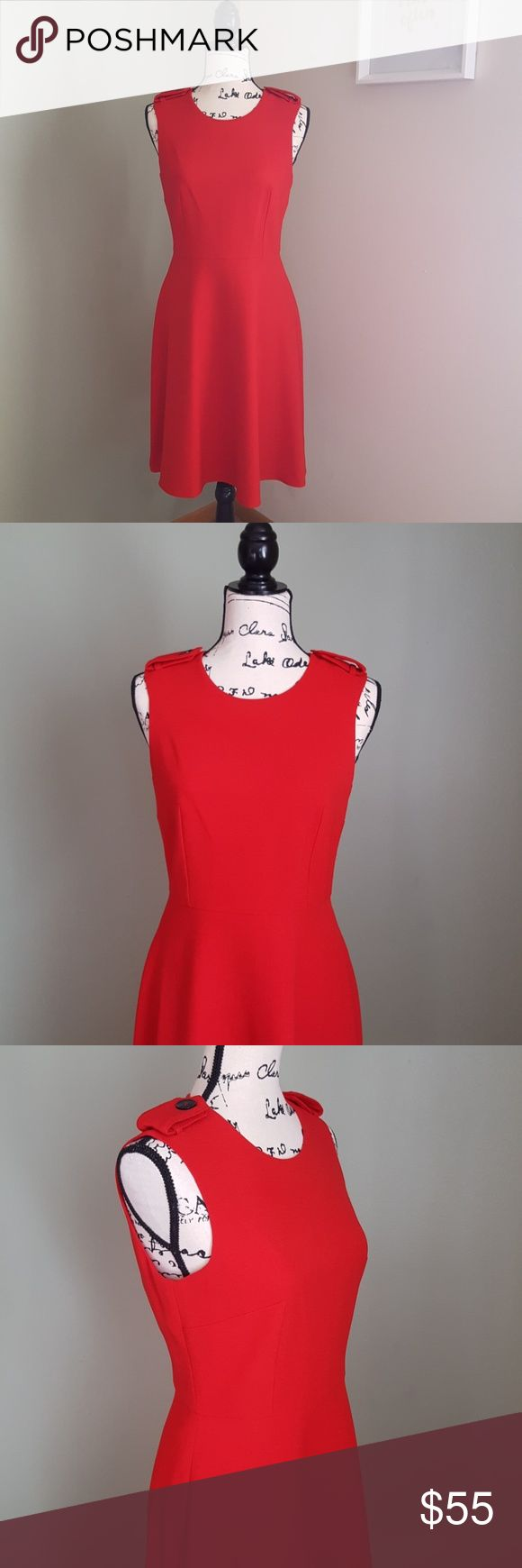 Tommy Hilfiger    NWOT Classic Red Fit Flare Dress New without tag Tommy Hilfiger fit and flare dress in classic red. Simple and chic. Size 4. Sleeveless with defined waistline, decorated shoulders, lined dress and full back zipper. 97% polyester 3% spandex, lining 100% polyester, dry clean only.  Measurements (flat lay) *armpit to armpit 17in *waist 14.5in *dress length 38in Tommy Hilfiger Dresses Midi