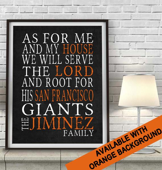 "San Francisco Giants baseball Personalized Art Print- ""As for Me"" Parody-Unframed Print"