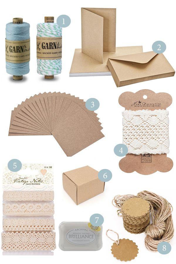 Kraftpapier und Spitze sind heiß begehrt in der Hochzeitspapeterie. Hier kommen ein paar Bezugsquellen für Karten, Anhänger und Spitzenbänder für eine Scheunenhochzeit.