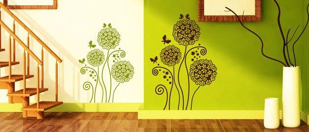 Hortenzie s motýly (1255) / Samolepky na zeď, stěnu a nábytek
