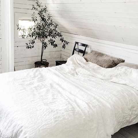 The #white #linen #white #wood and #plant all gorgeous @aquavireo