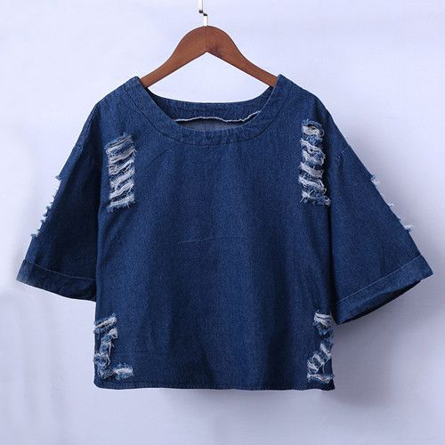 Camisa Jeans Feminino Denim Shirt Women Vintage Tops 2016 Summer Scratch Hole Loose Half Sleeve Short Pullover Jean Shirts