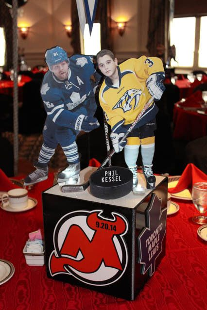 Sports Themed Centerpieces - Hockey Themed Photo Cube Centerpiece