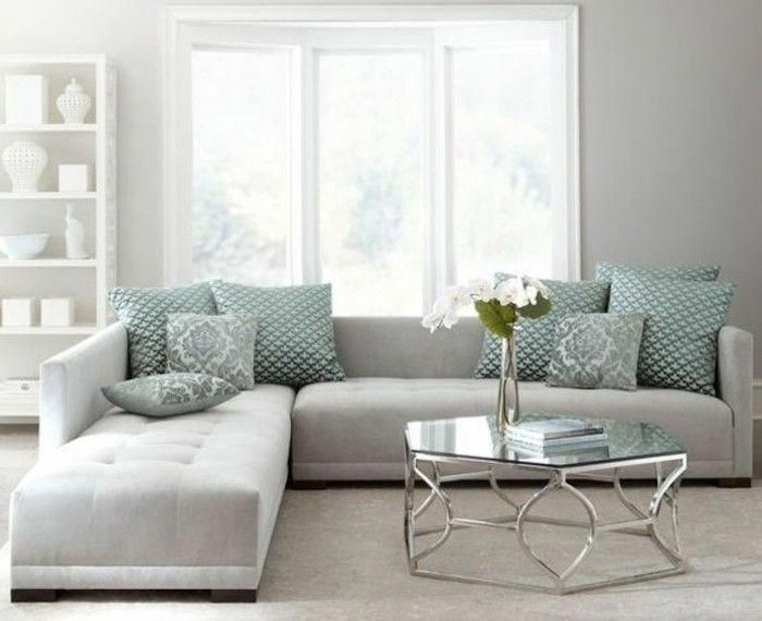 Light Grey Corner Sofa Turquoise Printed Throw Pillows Gray Bedroom Walls Glass Coffee Table Tu Minimalist Living Room Living Room Grey Living Room Designs