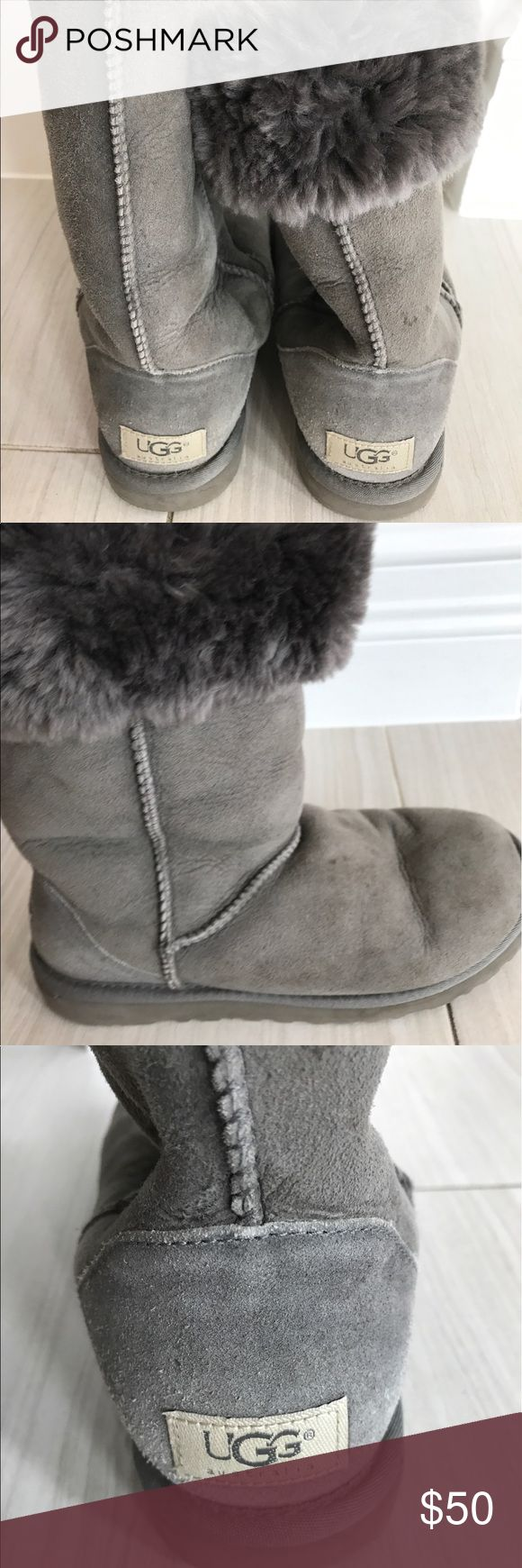 """UGG Classic tall boots Authentic UGG Boots. Good condition. The Classic Tall is an icon of casual style. Now pretreated for protection from water and staining, this luxurious sheepskin boot has also been updated with the Treadlite by UGG™ sole, which provides increased cushioning, durability, and traction. here  Twinface and suede Pretreated to repel water and stains Sheepskin insole Treadlite by UGG™ outsole Nylon binding 11.75"""" shaft height UGG Shoes Winter & Rain Boots"""