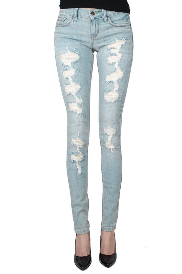 Eunina Women's Low Rise LT.ST Distressed Skinny Jean 15 (9708/LT.ST) *** You can find more details by visiting the image link.