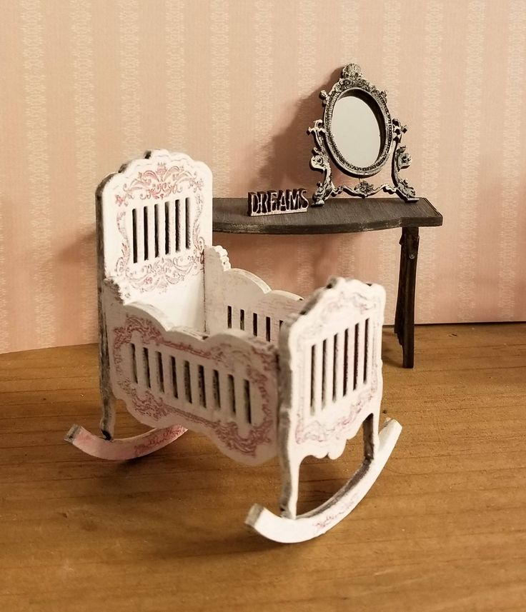 Miniature Dollhouse Petal Pink Or Unfinished Baby Rocking Cradle 1:12 Scale  By Smallsminnimall On