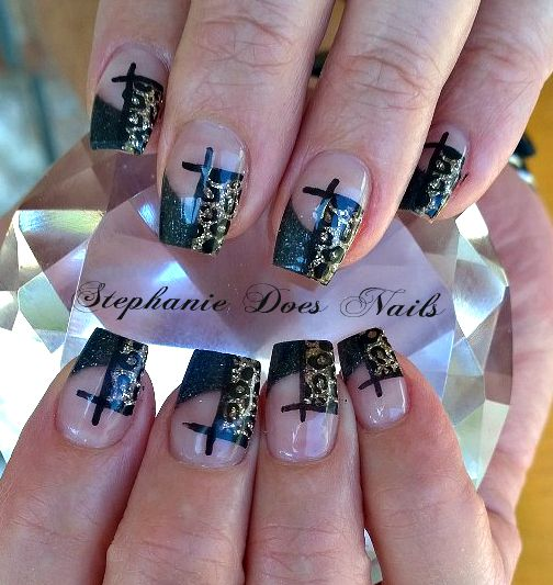 Acrylic Nail Designs With Crosses: Leopard Crosses Acrylic Nails. @stephaniedoesnails