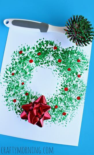 Dish Brush Wreath Craft - Easy Christmas craft for kids to make! | CraftyMorning.com