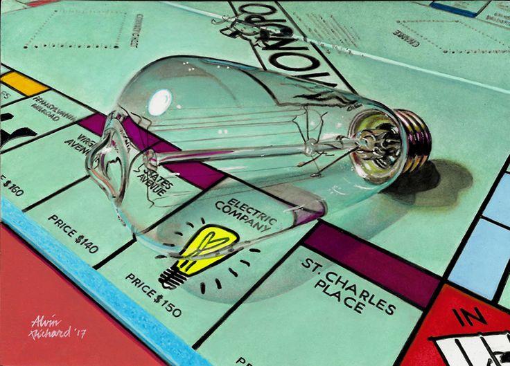 """Thomas Edison lights up the Electric Company"" 5 x 7"", acrylic on gessoed hardboard painting #243, 2017"