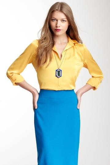 i could recreate this look #blue #pencilskirt #buttondown