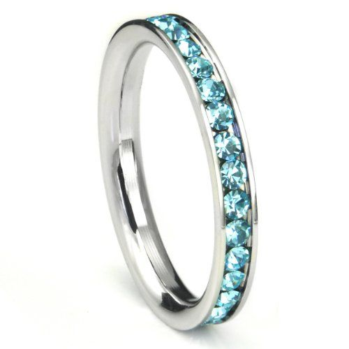 316L Stainless Steel Aquamarine Light Blue Cubic Zirconia CZ Eternity Wedding 3MM Band Ring Comes with FREE Gift Box (bestseller)
