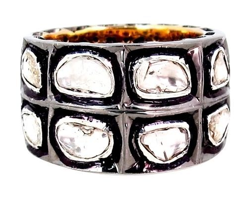 Antique Style 2.12ct Rose Cut Diamond Band Ring Sterling Silver 14k Gold Jewelry #Handmade