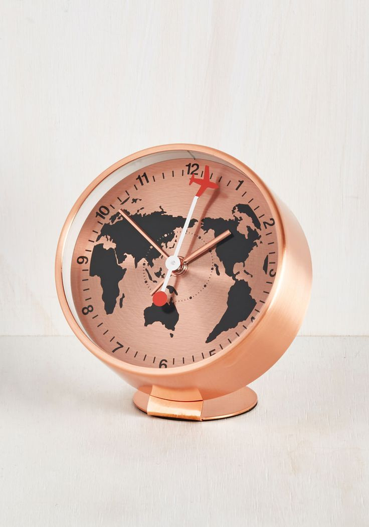 Have Time, Will Travel Alarm Clock. Returning home from another whirlwind journey, you snuggle into bed and set the alarm of this rose gold clock to signal the beginning of another adventure. #copper #modcloth