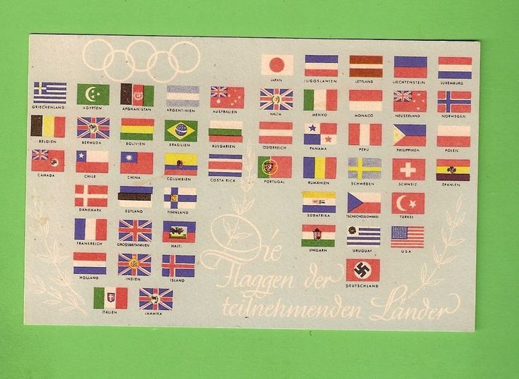 #G.  1936 BERLIN OLYMPIC GAMES POSTCARD FEATURING FLAGS OF PARTICIPATING NATIONS  | eBay