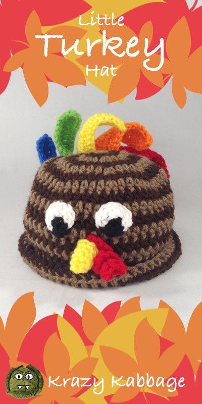 fe4352e57a3 Little Turkey Hat Crochet Pattern - Krazy Kabbage  Thanksgiving  Turkey   Firstthanksgiving  baby  hat  beanie  rooster  crochet  pattern  free   freepattern ...