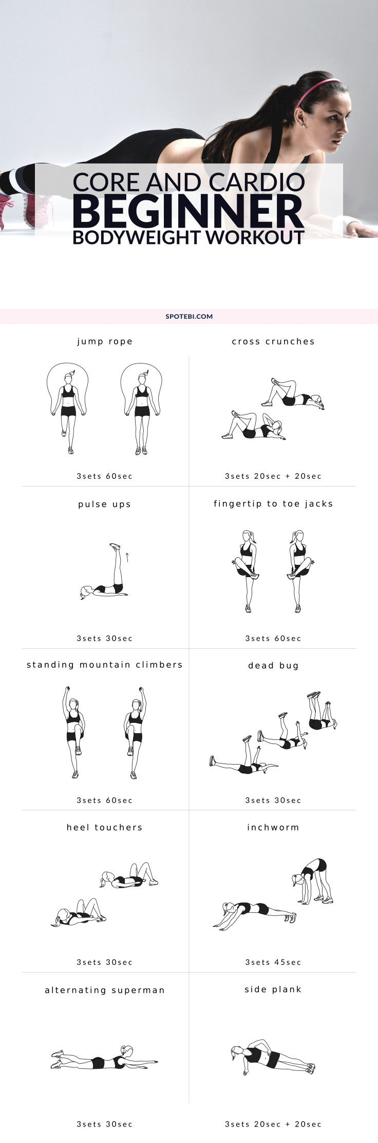 Boost your metabolism, trim your midsection and improve your fitness level with this core and cardio beginner bodyweight workout. 10 different exercises to target your core and burn body fat. http://www.spotebi.com/workout-routines/core-cardio-beginner-bodyweight-workout/