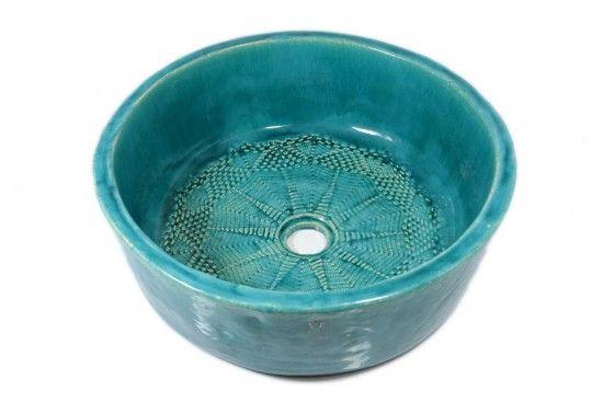 Mediterrane Waskom - Vol Turquoise met versiering