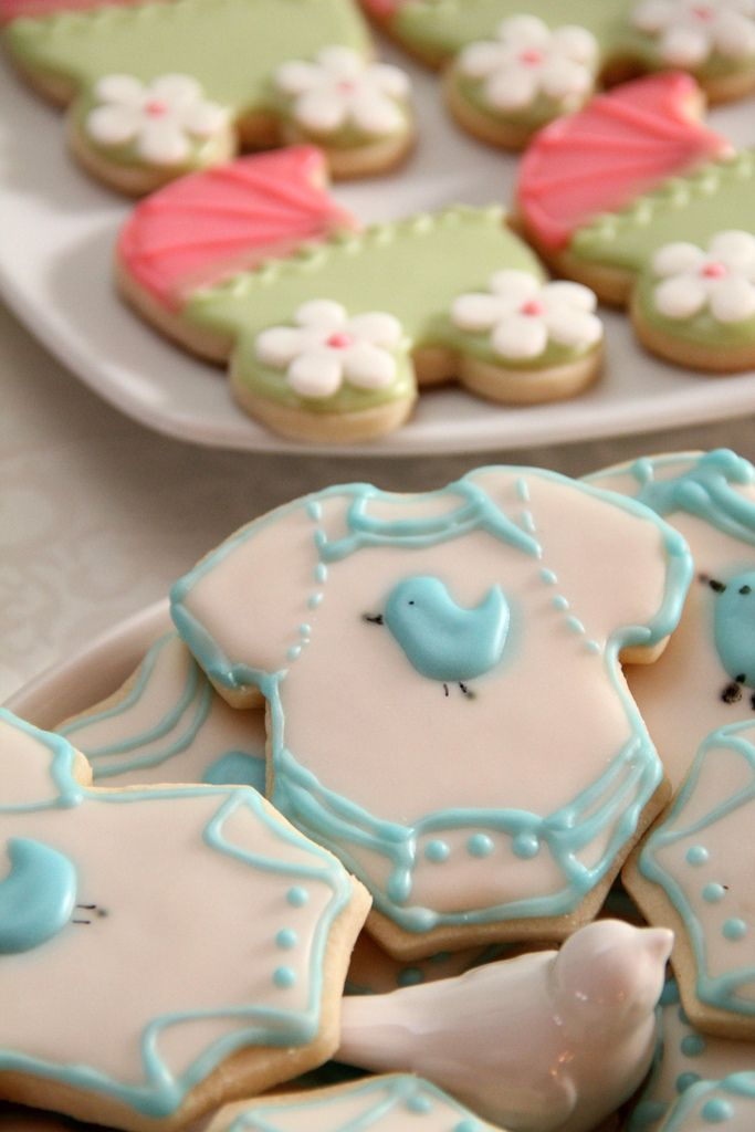 """baby carriage and onesie sugar cookies for """"feathering the nest"""" baby shower, sweet kiera"""