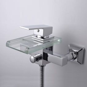 Contemporary Waterfall Tub Tap with Glass Spout (Wall Mount)T0818W  http://www.uktaps.co.uk/bathtub-taps-c-21.html