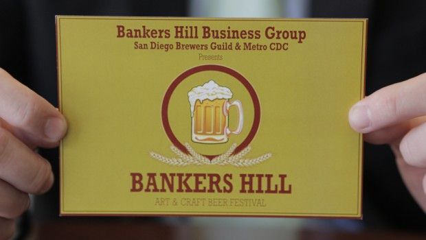 Jake Sutton, co-founder of the Bankers Hill Business Association, holds a flyer for the first annual Bankers Hill Art and Craft Beer Festival. The association also hosted the first annual Taste of Bankers Hill in October. Read full story here: http://eatsd.com/news/san-diego-breweries-and-bankers-hill-eateries-join-forces-festival-ensues/