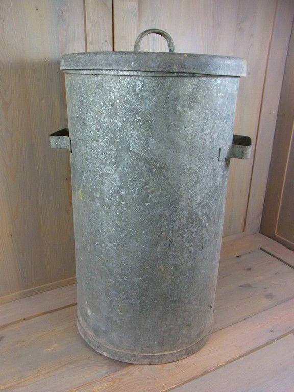 Vintage Galvanized Metal Fence Top Finial Fence Post: La2/732 * Industrial Galvanized Metal Trash Can Machine
