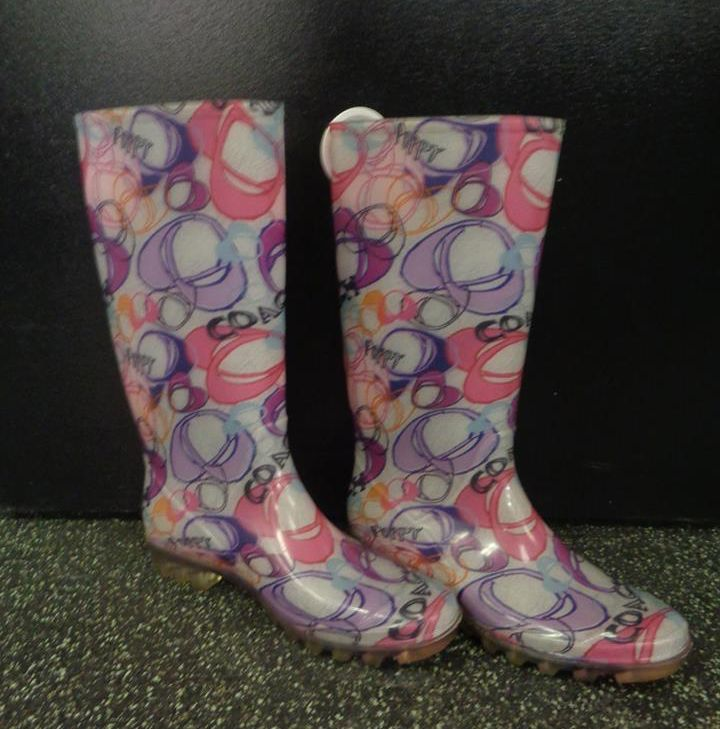 How fun are these #Coach rainboots?! Pick them up at #PlatosClosetNewmarket for ONLY $30 (sz.11)! #SoCute #NeedIt | www.platosclosetnewmarket.com