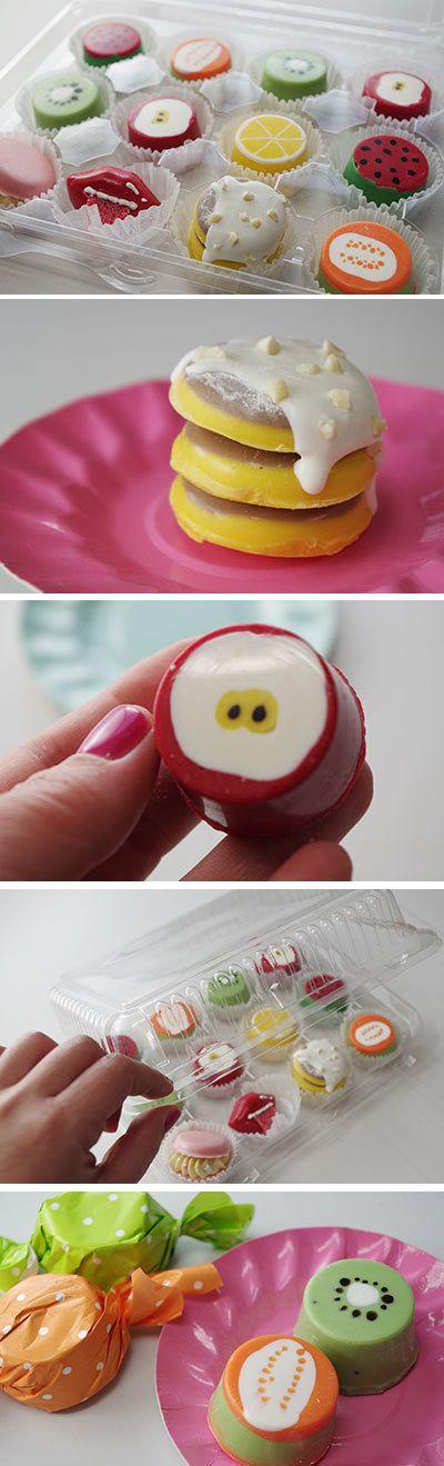 キャンディライター(candy writer)でHazukiさんが 作ってくれたフルーツチョコ、ホットケーキチョコ、マカロンチョコ、etc。