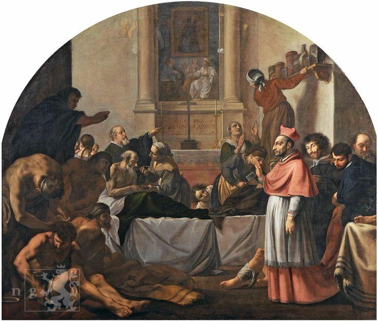 Karel Škréta - Svatý Karel Boromejský navštěvuje nemocné morem (1647, NG Praha)