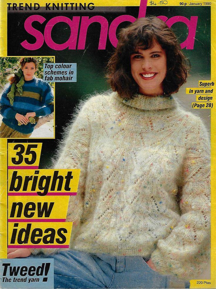 Sandra knitting magazine January 1990 picture knits fairisle textured sweater #Sandra