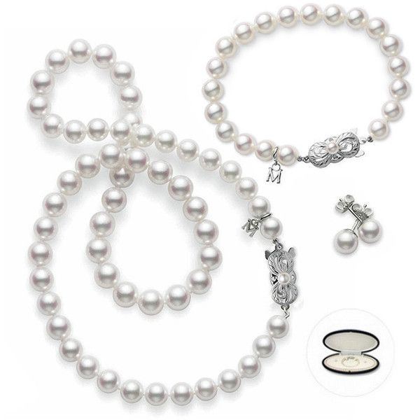 """21""""Mikimoto Akoya Pearl White Gold 7-8mm Strand Necklace, 8mm earrings.  The new bracelet will complete my set."""