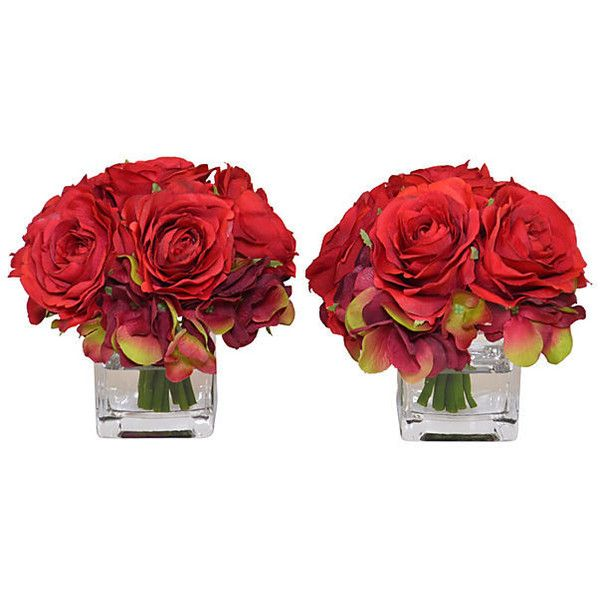 5 Red Rose Arrangements Faux Set Of 2 Arrangements 79 Liked Red Home Accessoriesdecorative