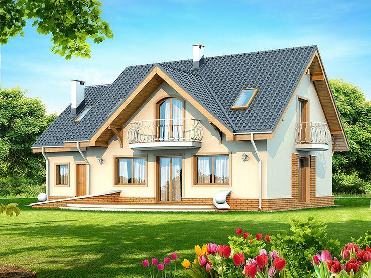 Jest to piękny dom przeznaczony dla 3-6 osobowej rodziny o eleganckiej formie i tradycyjnej estetyce. Jest to budynek parterowy z użytkowym poddaszem, niepodpiwniczony.