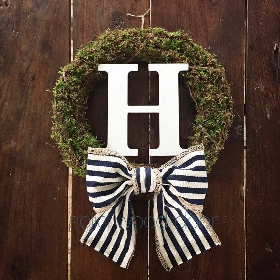 Fall Moss Wreath initial moss wreath Nautical by SolidWoodDoor