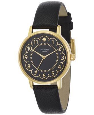 kate spade new york Women's Metro Black Leather Strap Watch 34mm 1YRU0790