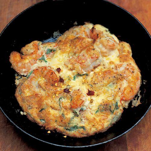 Lekker recept gevonden: Jamie Oliver: frittata van garnalen en peterselie
