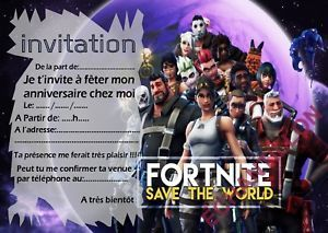 Cartes Invitation Anniversaire Theme Fortnite Format