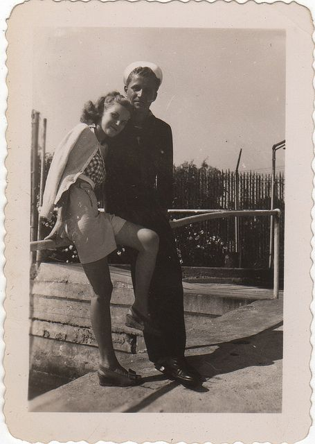 sweethearts...sailor and his girl(probably around the mid 1940's)