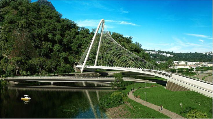 Santiago Calatrava most span Rio de Janeiro Canal de Barra, Brazil #architecture #bridge #Santiago Calatrava #Rio de Janeiro #Brazil