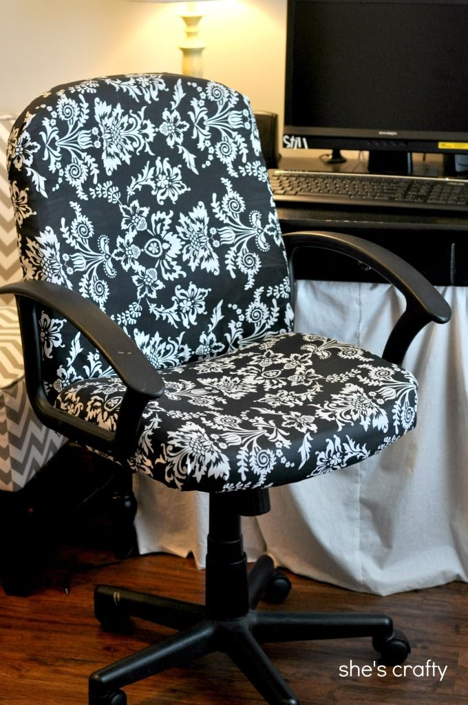 She's crafty: recovered office chair - turn a dumpy old office chair into a nice updated piece! I have one of these chairs.. It's ugly, maybe I can fix it up! #diy