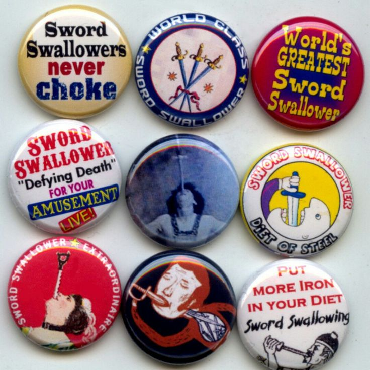 Sword Swallowing Pinback button set by Yesware11 on Etsy!