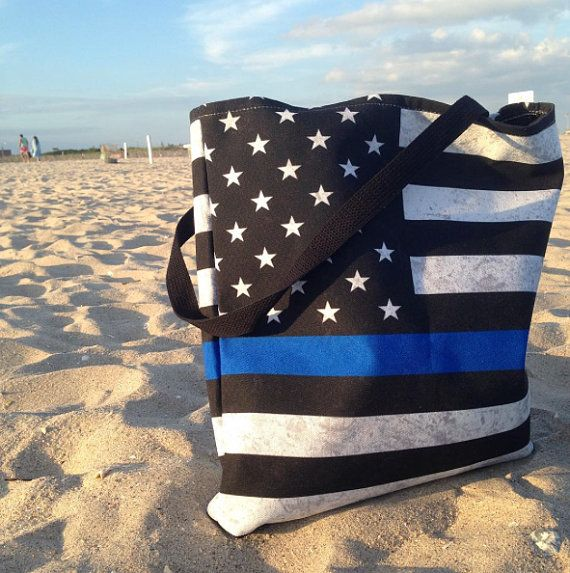 Thin Blue Line Tote Bag by bitobots on Etsy