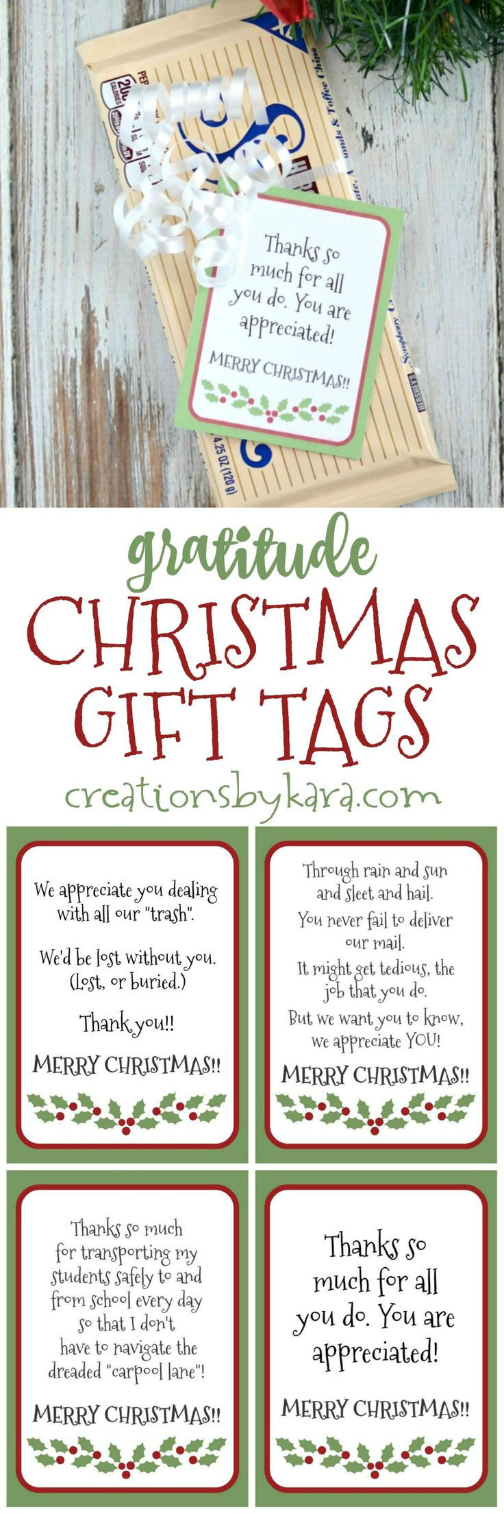 Free printable gratitude Christmas Gift Tags - show appreciation for people who are often neglected during the holiday season!