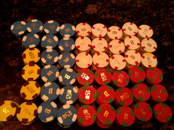 497 piece clay poker chip set in locking case Paulson Hat and Cane with B monogram. $1,250.00, via Etsy.