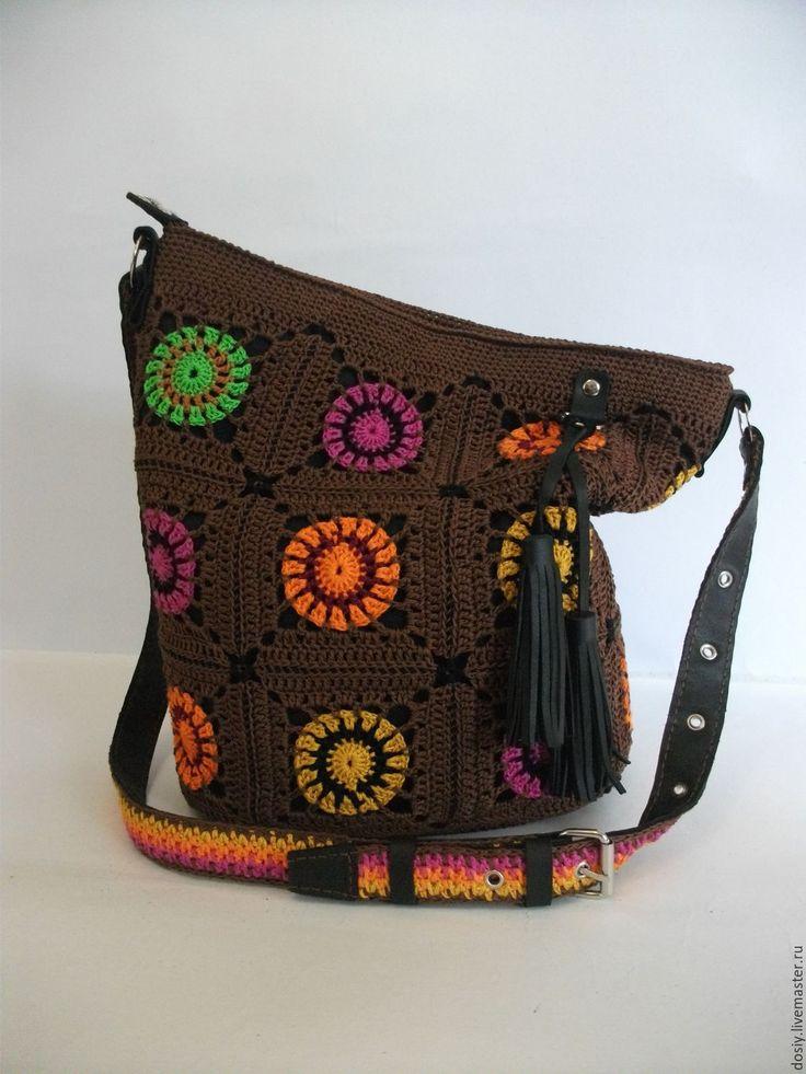 Купить вязаная сумка-торба, бабушкин квадрат. - коричневый, абстрактный, женская сумка, вязаная сумка