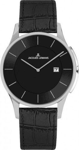 Jacques Lemans 1-1777B Men Watch Black Dial Genuine Anti-Allergic Leather Strap