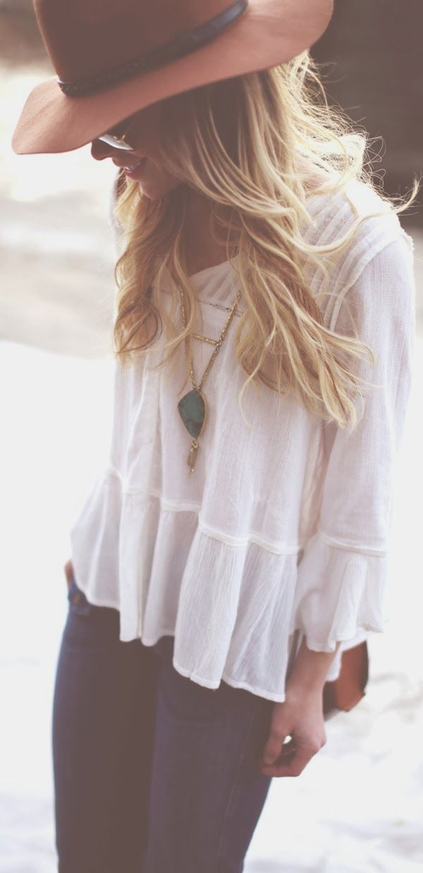 Lovely peplum top and hat fashion style